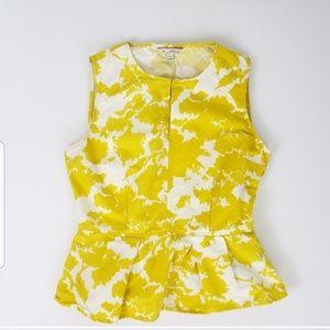 Gap Yellow/White Peplum Ruffle Hem Sleeveless Top